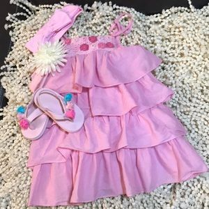 Bundle -  2T dress Size 5/6 shoes, 2 headbands